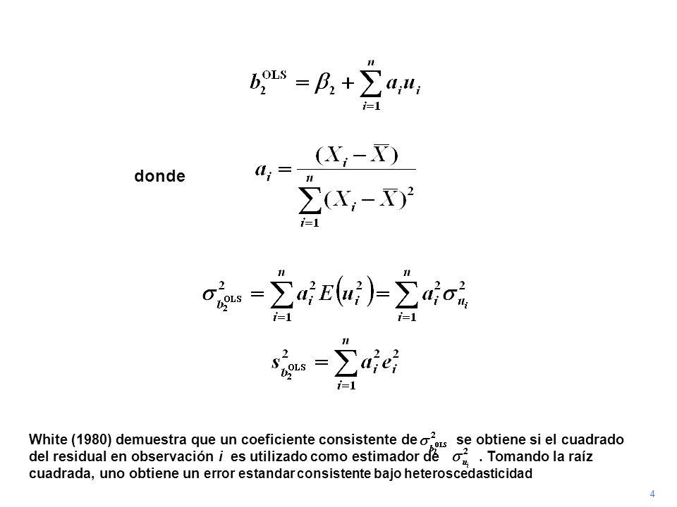 4 White (1980) demuestra que un coeficiente consistente de se obtiene si el cuadrado del residual en observación i es utilizado como estimador de. Tom