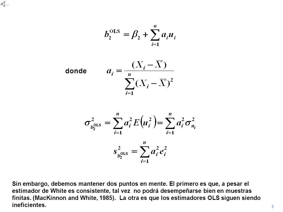 7 Para ilustrar el uso del error estándar consistente bajo heteroscedasticidad, la regresión de MANU respecto a GDP en la secuencia previa se repite con la opción robust disponible en Stata..