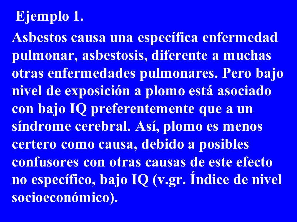 Causalidad es también incrementada si una enfermedad está asociada con una exposición específica, y no con toda una variedad de expsociones.