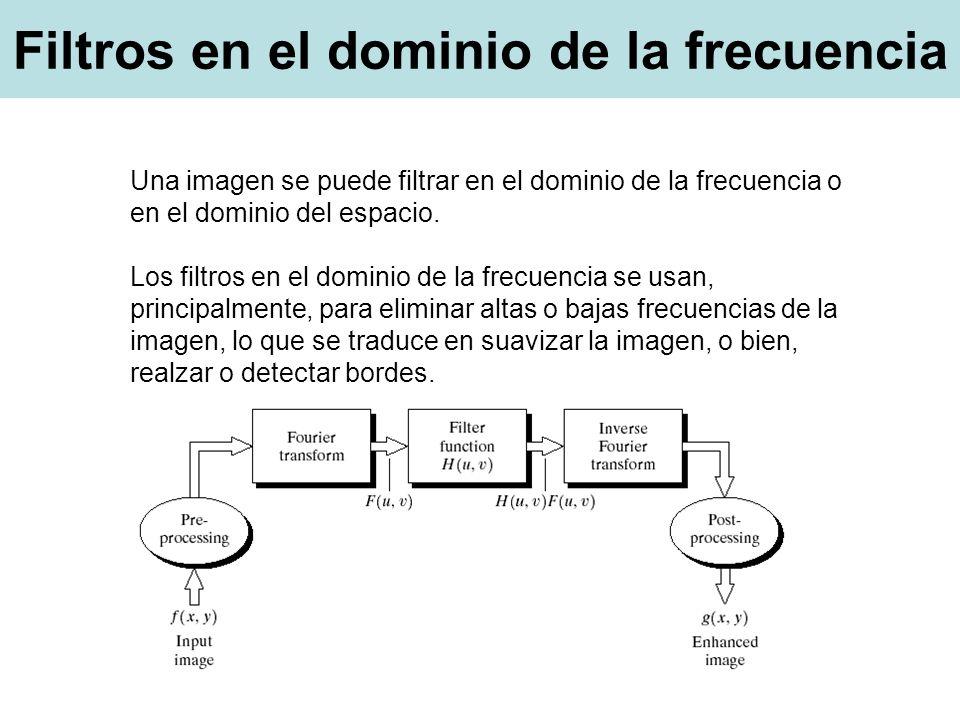 Una imagen se puede filtrar en el dominio de la frecuencia o en el dominio del espacio.