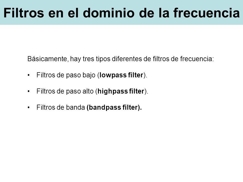 Básicamente, hay tres tipos diferentes de filtros de frecuencia: Filtros de paso bajo (lowpass filter).