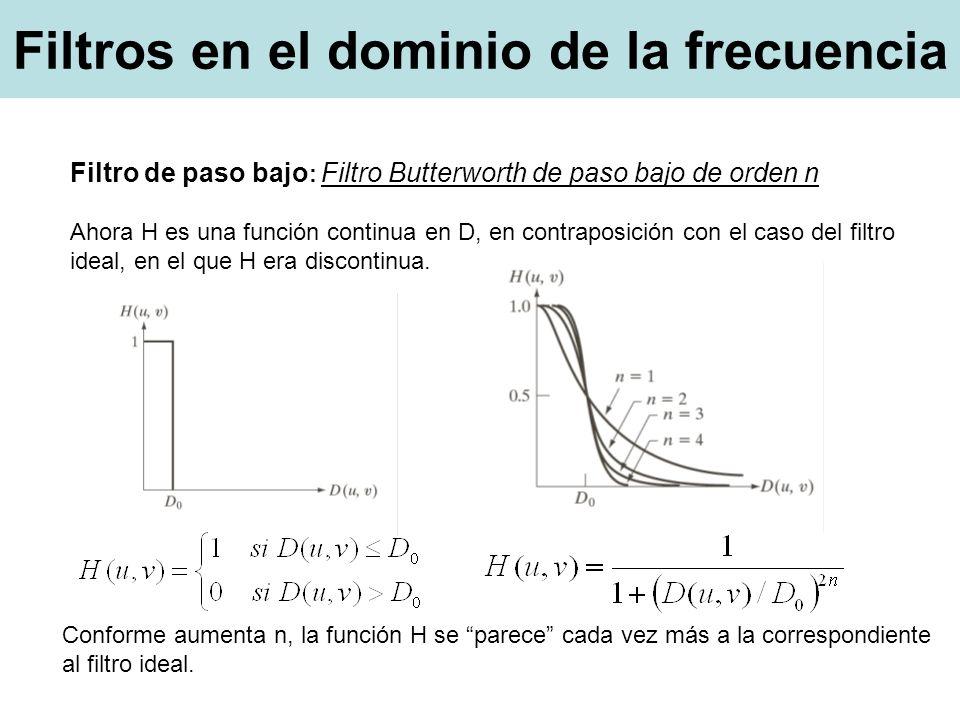 Filtros en el dominio de la frecuencia Filtro de paso bajo : Filtro Butterworth de paso bajo de orden n Ahora H es una función continua en D, en contraposición con el caso del filtro ideal, en el que H era discontinua.