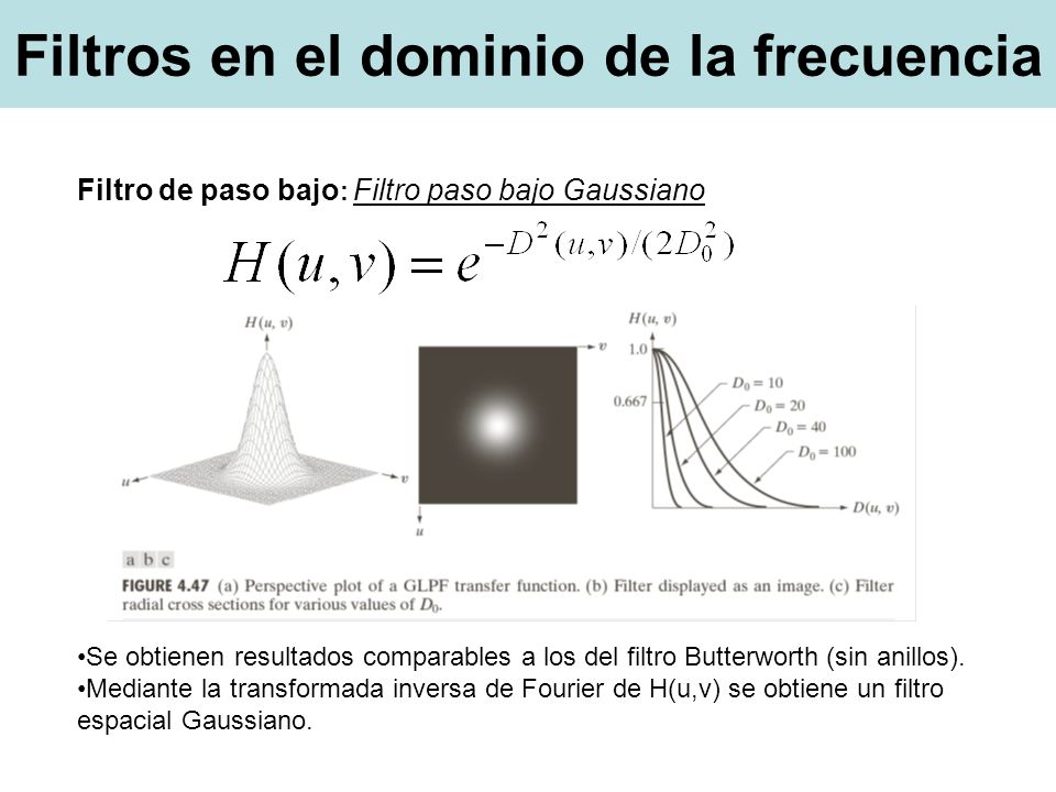 Filtros en el dominio de la frecuencia Filtro de paso bajo : Filtro paso bajo Gaussiano Se obtienen resultados comparables a los del filtro Butterworth (sin anillos).