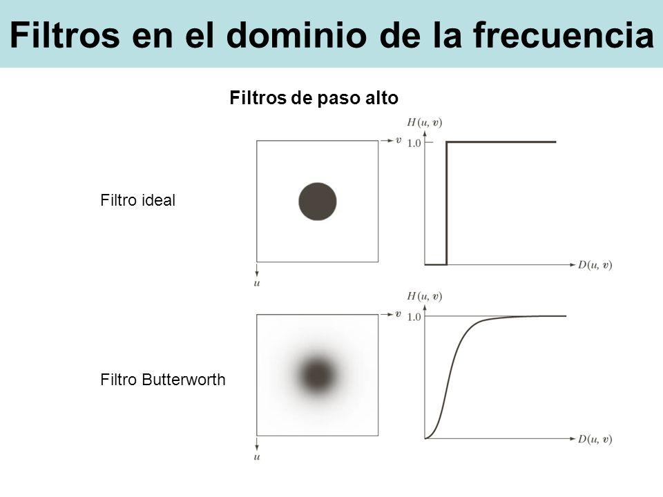 Filtros en el dominio de la frecuencia Filtro ideal Filtro Butterworth Filtros de paso alto