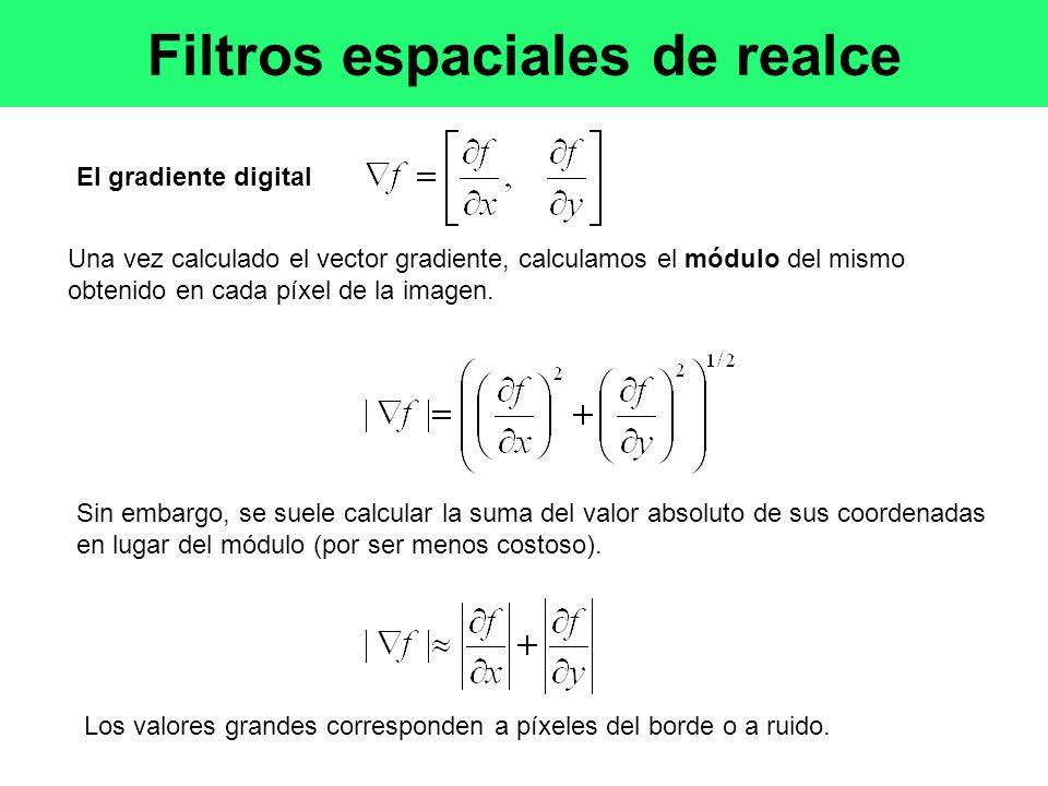 El gradiente digital Una vez calculado el vector gradiente, calculamos el módulo del mismo obtenido en cada píxel de la imagen.