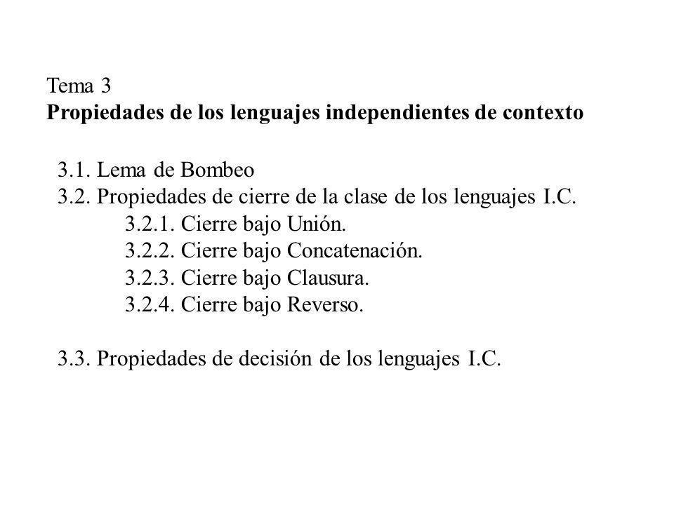 Tema 3 Propiedades de los lenguajes independientes de contexto 3.1. Lema de Bombeo 3.2. Propiedades de cierre de la clase de los lenguajes I.C. 3.2.1.