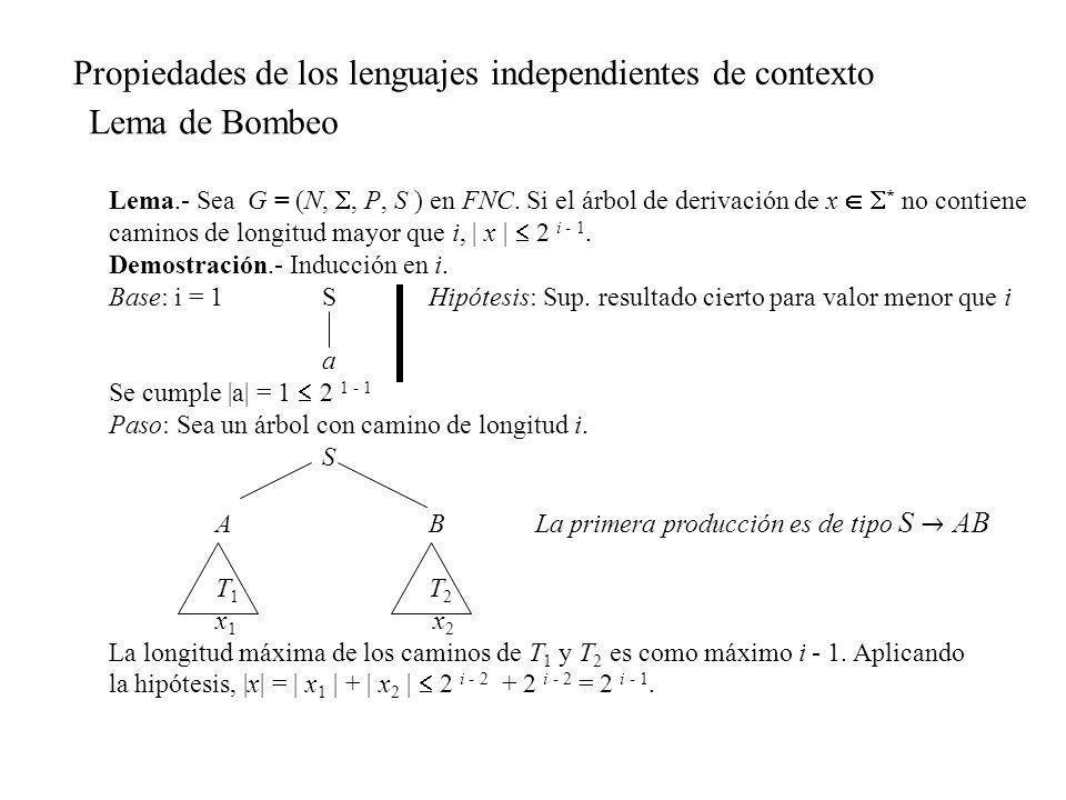 Lema.- Sea G = (N,, P, S ) en FNC. Si el árbol de derivación de x * no contiene caminos de longitud mayor que i,   x   2 i - 1. Demostración.- Inducci