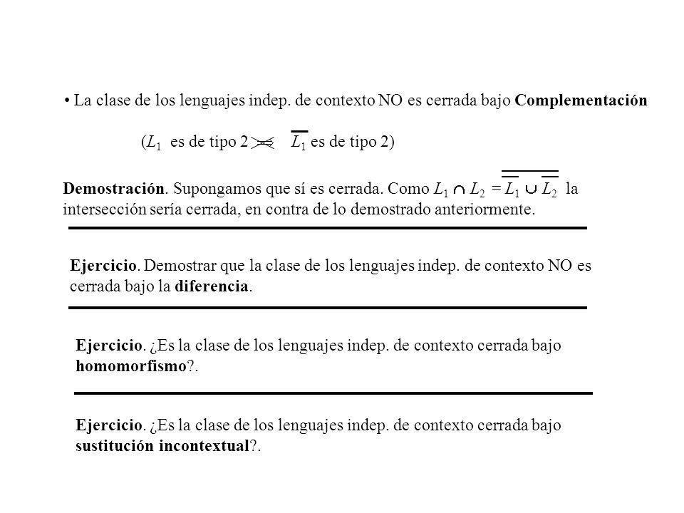 La clase de los lenguajes indep. de contexto NO es cerrada bajo Complementación (L 1 es de tipo 2 L 1 es de tipo 2) Demostración. Supongamos que sí es