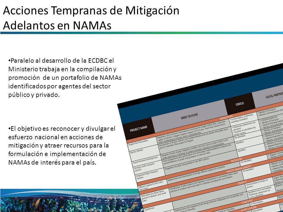 Acciones Tempranas de Mitigación Adelantos en NAMAs Paralelo al desarrollo de la ECDBC el Ministerio trabaja en la compilación y promoción de un porta