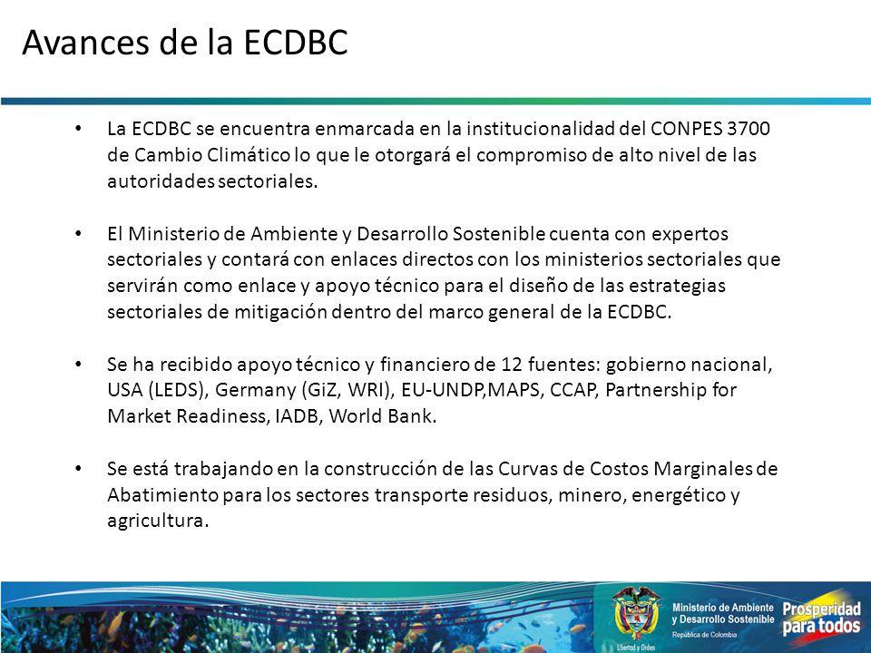 Avances de la ECDBC La ECDBC se encuentra enmarcada en la institucionalidad del CONPES 3700 de Cambio Climático lo que le otorgará el compromiso de al