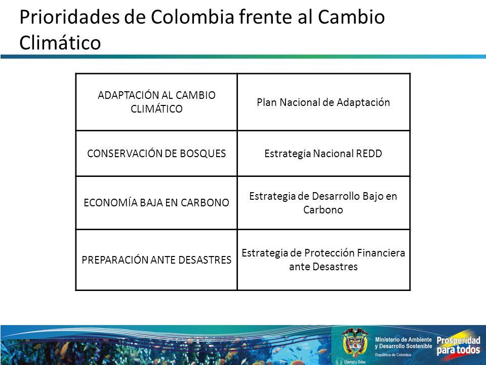 Prioridades de Colombia frente al Cambio Climático ADAPTACIÓN AL CAMBIO CLIMÁTICO Plan Nacional de Adaptación CONSERVACIÓN DE BOSQUESEstrategia Nacion
