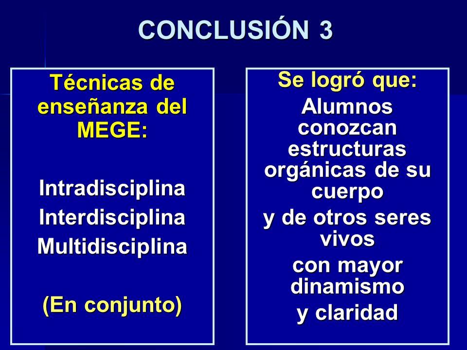 CONCLUSIÓN 3 Técnicas de enseñanza del MEGE: IntradisciplinaInterdisciplinaMultidisciplina (En conjunto) Se logró que: Alumnos conozcan estructuras or
