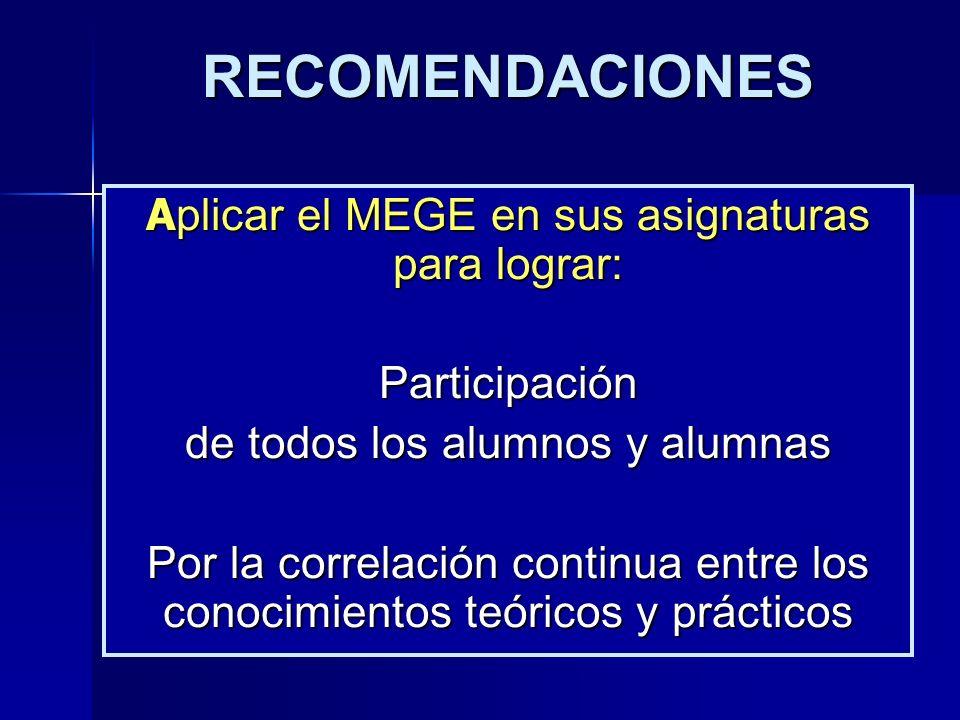 RECOMENDACIONES A plicar el MEGE en sus asignaturas para lograr: Participación de todos los alumnos y alumnas Por la correlación continua entre los co