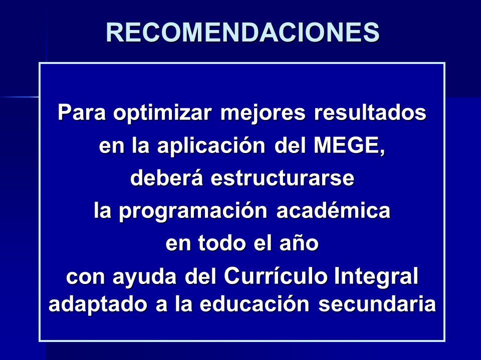 RECOMENDACIONES Para optimizar mejores resultados en la aplicación del MEGE, deberá estructurarse la programación académica en todo el año con ayuda d