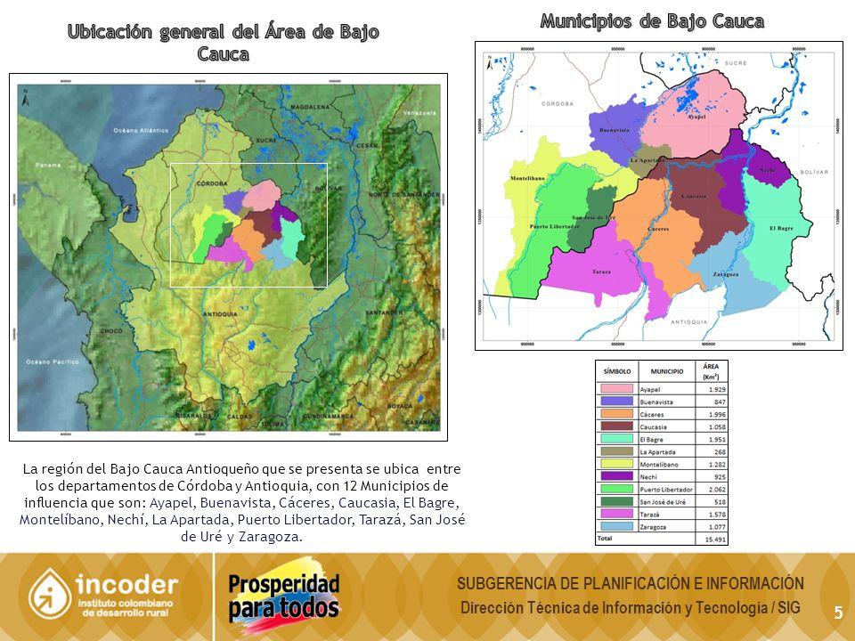 5 La región del Bajo Cauca Antioqueño que se presenta se ubica entre los departamentos de Córdoba y Antioquia, con 12 Municipios de influencia que son: Ayapel, Buenavista, Cáceres, Caucasia, El Bagre, Montelíbano, Nechí, La Apartada, Puerto Libertador, Tarazá, San José de Uré y Zaragoza.