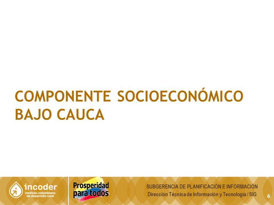 6 COMPONENTE SOCIOECONÓMICO BAJO CAUCA SUBGERENCIA DE PLANIFICACIÓN E INFORMACIÓN Dirección Técnica de Información y Tecnología / SIG