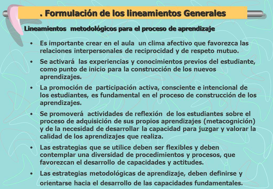 Formulación de los lineamientos Generales Lineamientos metodológicos para el proceso de aprendizaje Es importante crear en el aula un clima afectivo que favorezca las relaciones interpersonales de reciprocidad y de respeto mutuo.
