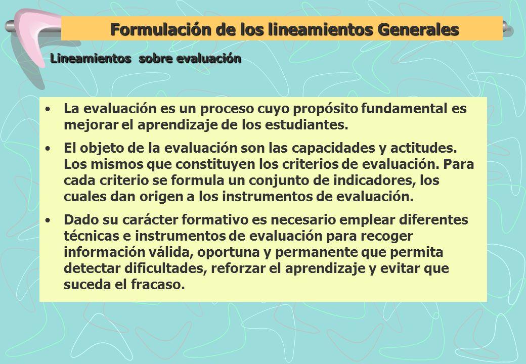 Formulación de los lineamientos Generales Formulación de los lineamientos Generales Lineamientos sobre evaluación Lineamientos sobre evaluación La evaluación es un proceso cuyo propósito fundamental es mejorar el aprendizaje de los estudiantes.