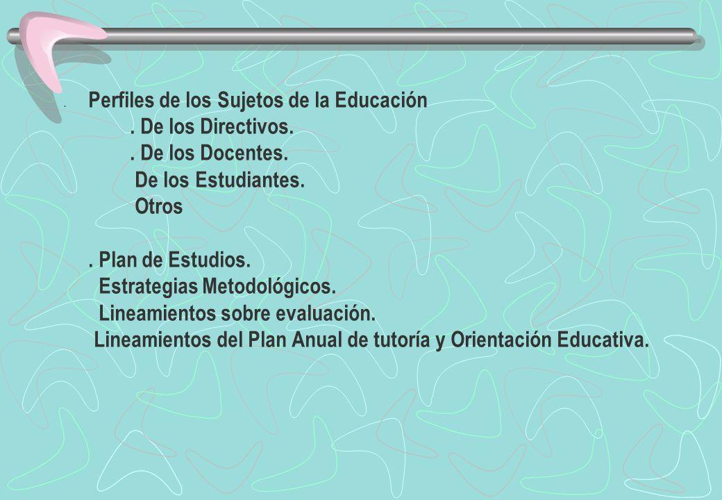 . Perfiles de los Sujetos de la Educación. De los Directivos.. De los Docentes. De los Estudiantes. Otros. Plan de Estudios. Estrategias Metodológicos