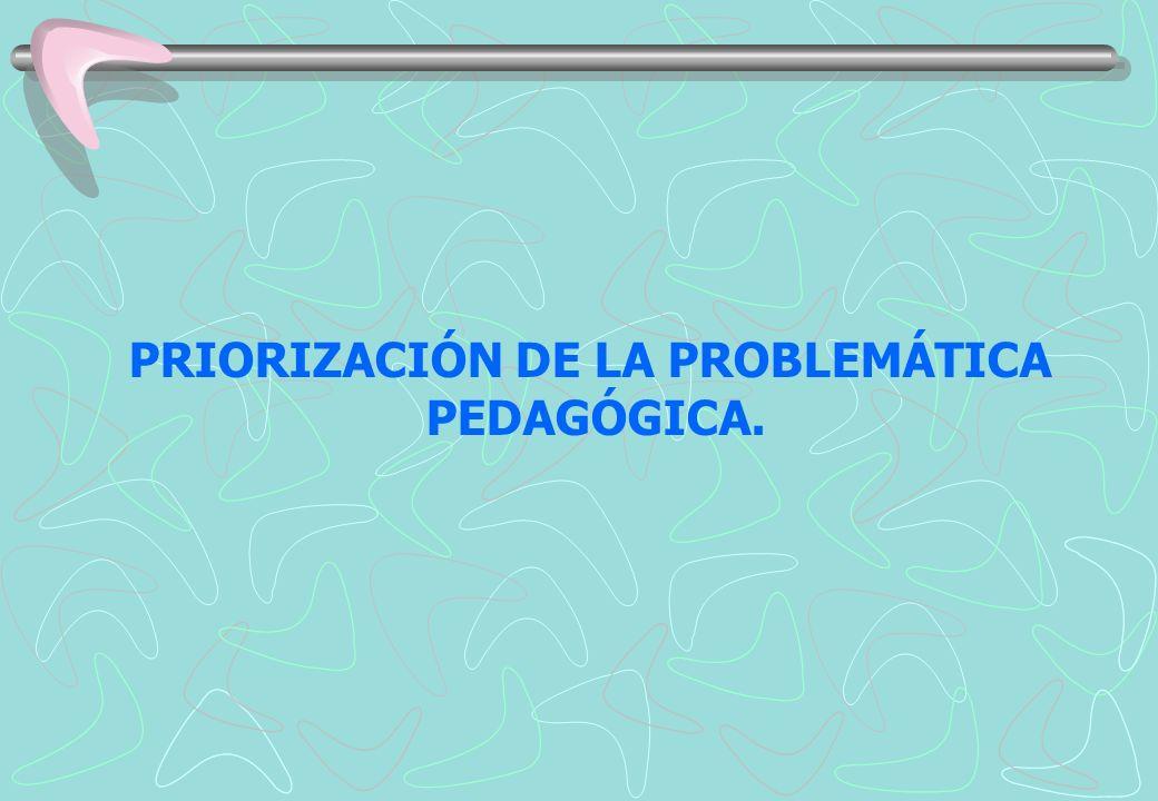 PRIORIZACIÓN DE LA PROBLEMÁTICA PEDAGÓGICA.