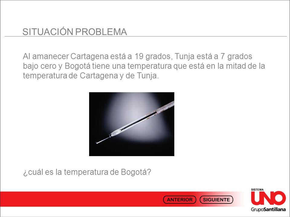 Al amanecer Cartagena está a 19 grados, Tunja está a 7 grados bajo cero y Bogotá tiene una temperatura que está en la mitad de la temperatura de Carta