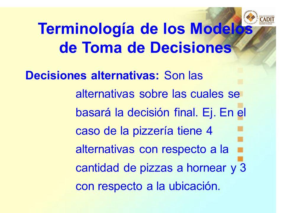 Decisiones alternativas: Son las alternativas sobre las cuales se basará la decisión final. Ej. En el caso de la pizzería tiene 4 alternativas con res