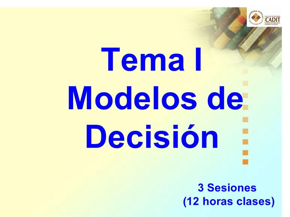 Tema I Modelos de Decisión 3 Sesiones (12 horas clases)