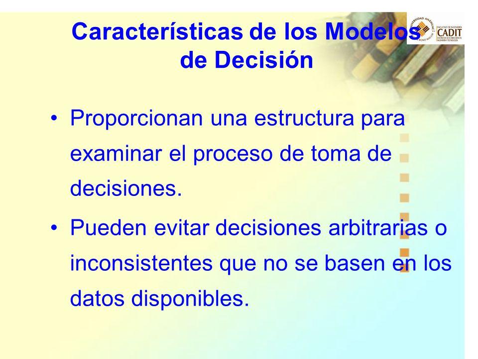 Proporcionan una estructura para examinar el proceso de toma de decisiones. Pueden evitar decisiones arbitrarias o inconsistentes que no se basen en l