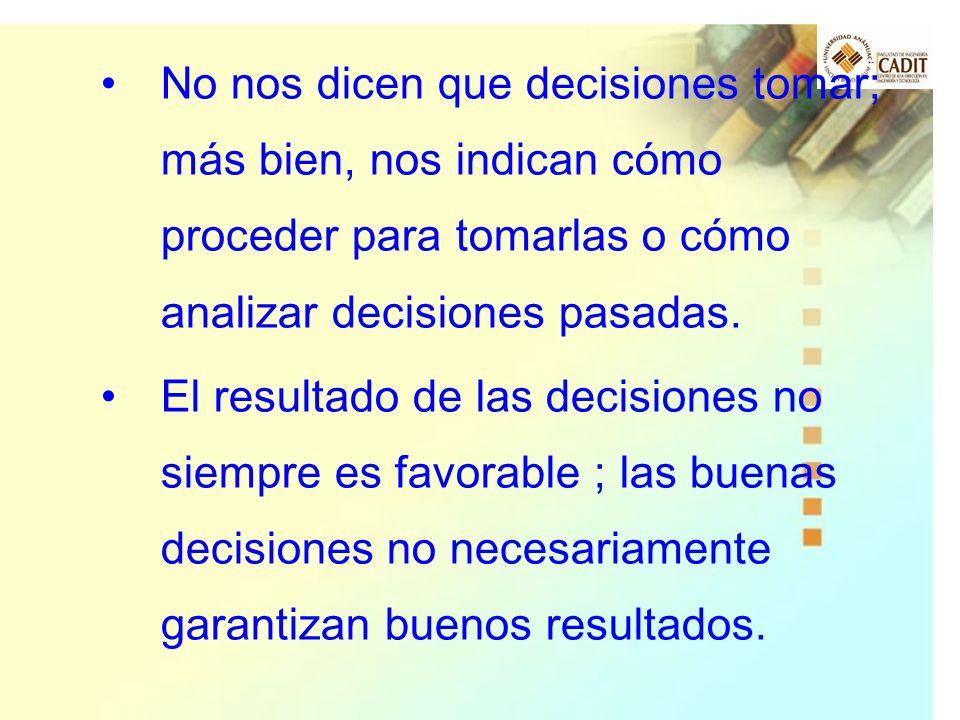 No nos dicen que decisiones tomar; más bien, nos indican cómo proceder para tomarlas o cómo analizar decisiones pasadas. El resultado de las decisione