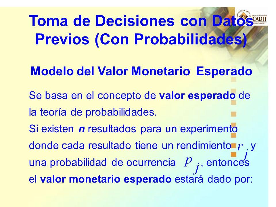 Se basa en el concepto de valor esperado de la teoría de probabilidades. Si existen n resultados para un experimento donde cada resultado tiene un ren