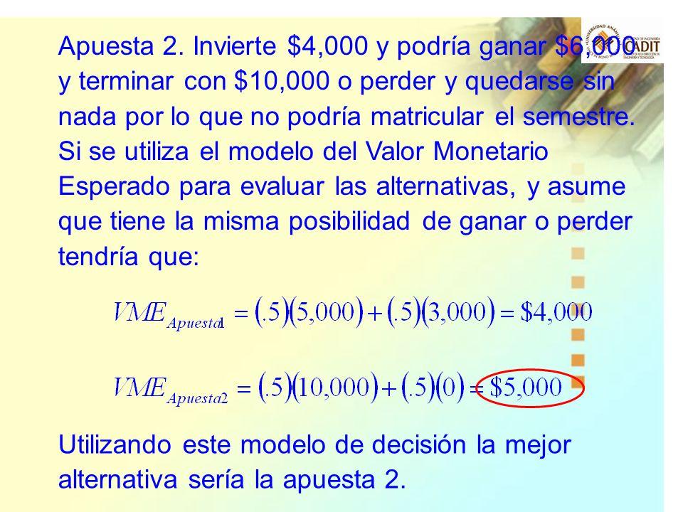 Apuesta 2. Invierte $4,000 y podría ganar $6,000 y terminar con $10,000 o perder y quedarse sin nada por lo que no podría matricular el semestre. Si s
