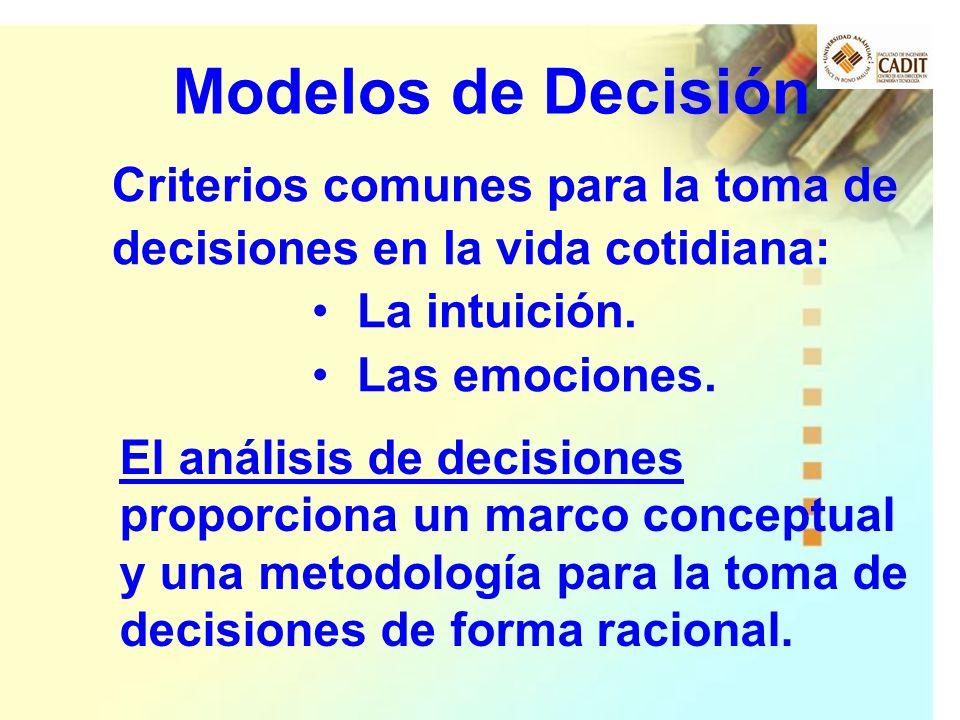 El análisis de decisiones proporciona un marco conceptual y una metodología para la toma de decisiones de forma racional. Modelos de Decisión Criterio