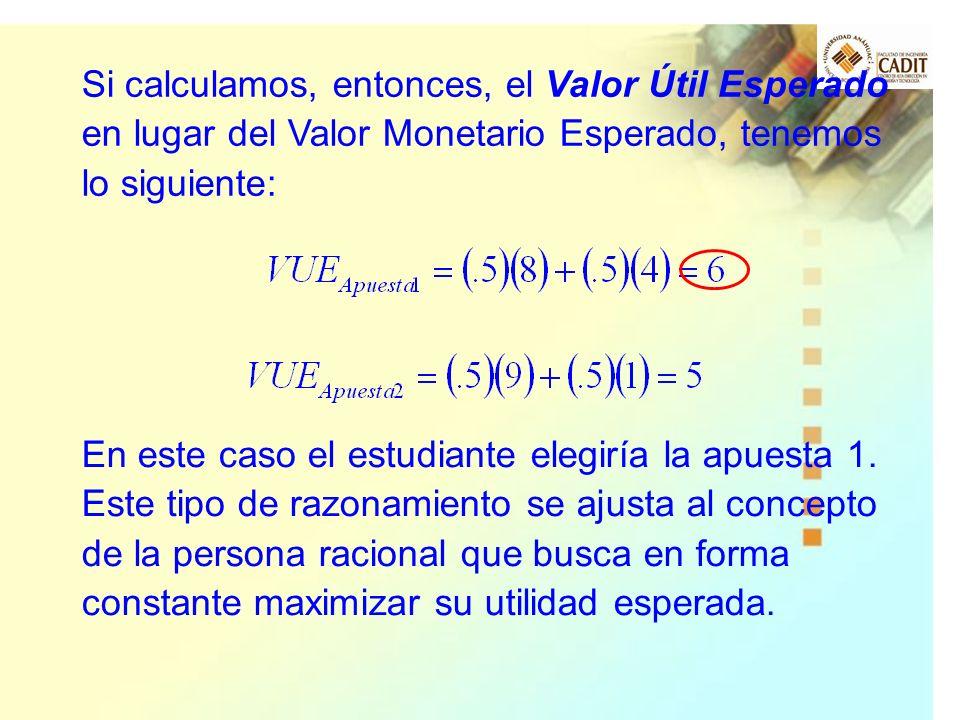 Si calculamos, entonces, el Valor Útil Esperado en lugar del Valor Monetario Esperado, tenemos lo siguiente: En este caso el estudiante elegiría la ap