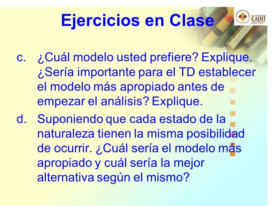 Ejercicios en Clase c.¿Cuál modelo usted prefiere? Explique. ¿Sería importante para el TD establecer el modelo más apropiado antes de empezar el análi