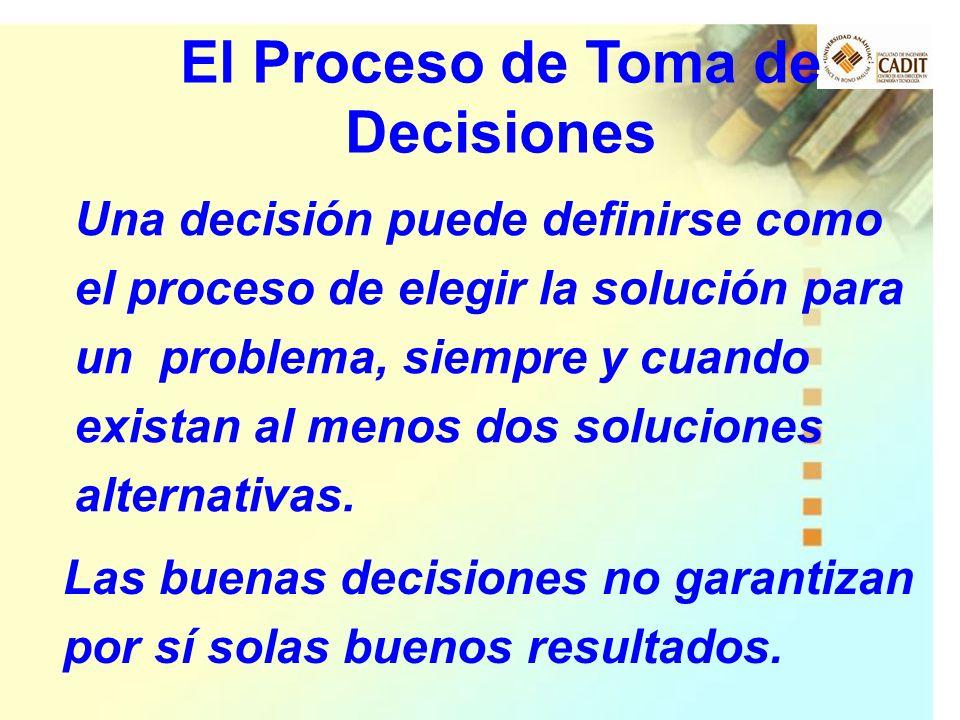 Una decisión puede definirse como el proceso de elegir la solución para un problema, siempre y cuando existan al menos dos soluciones alternativas. El