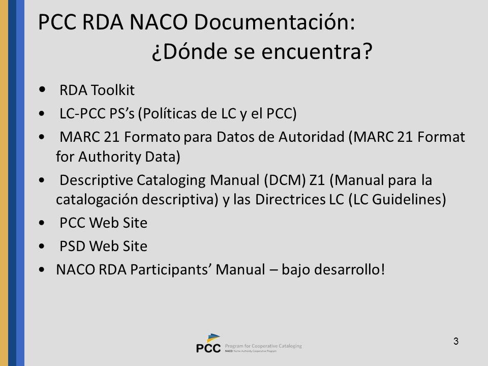 3 PCC RDA NACO Documentación: ¿Dónde se encuentra.