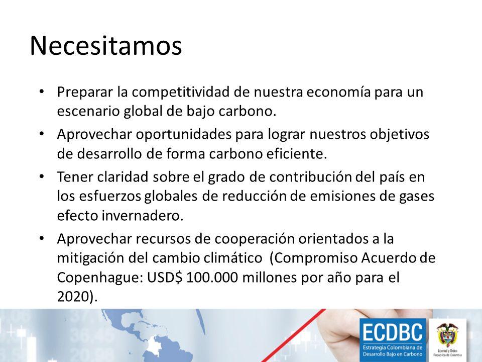 Necesitamos Preparar la competitividad de nuestra economía para un escenario global de bajo carbono. Aprovechar oportunidades para lograr nuestros obj