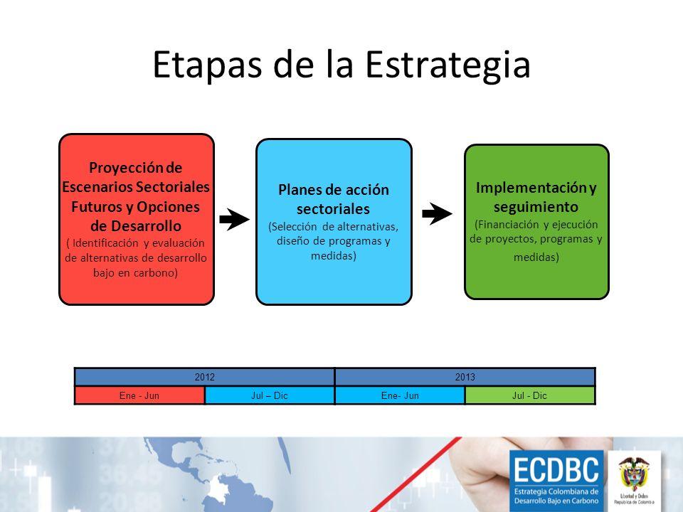 Etapas de la Estrategia Proyección de Escenarios Sectoriales Futuros y Opciones de Desarrollo ( Identificación y evaluación de alternativas de desarro