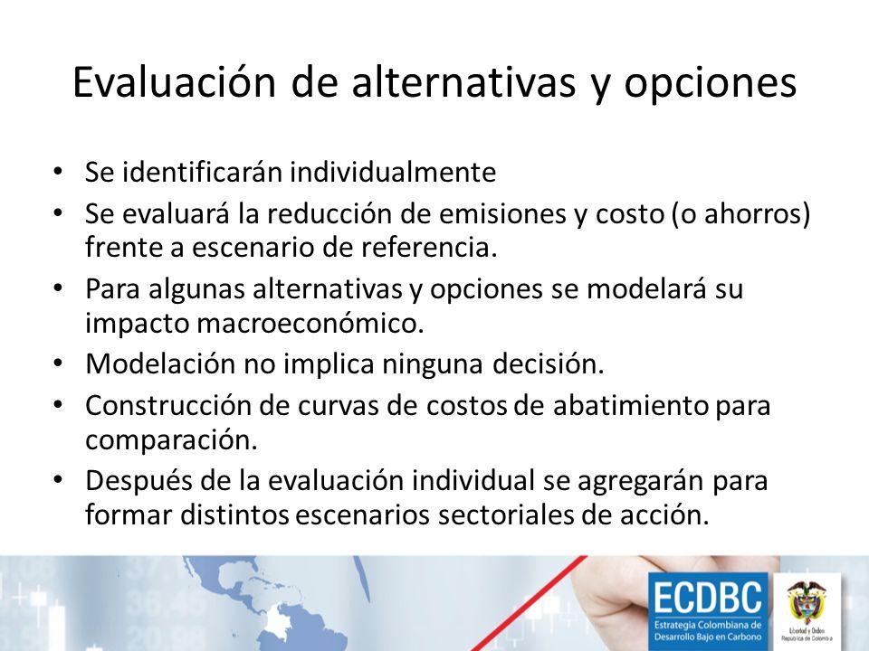 Evaluación de alternativas y opciones Se identificarán individualmente Se evaluará la reducción de emisiones y costo (o ahorros) frente a escenario de