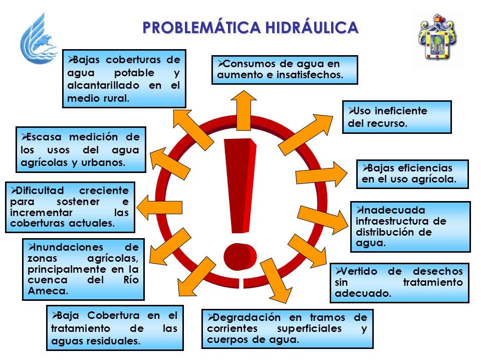 PROBLEMÁTICA HIDRÁULICA Uso ineficiente del recurso. Escasa medición de los usos del agua agrícolas y urbanos. Degradación en tramos de corrientes sup