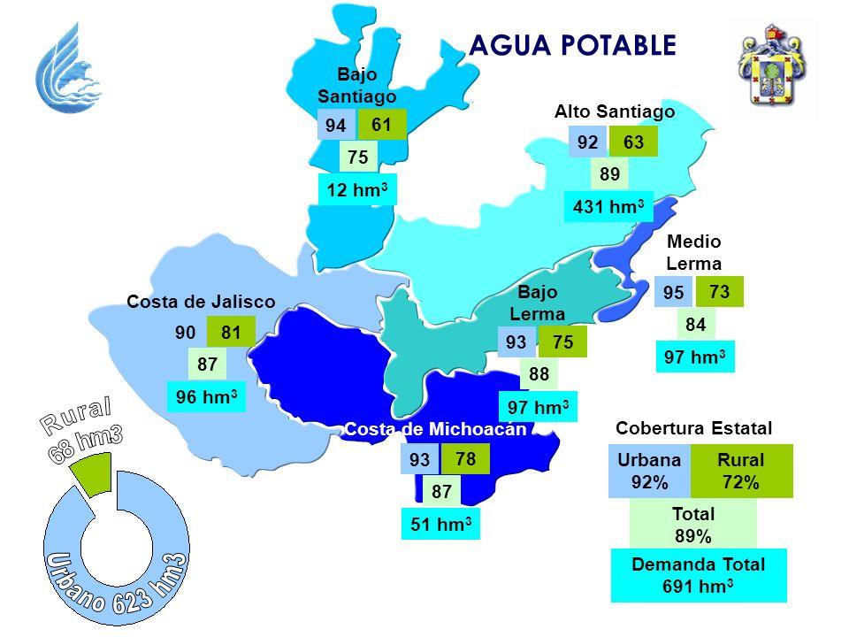 AGUA POTABLE Costa de Jalisco 81 87 90 96 hm 3 Alto Santiago 63 89 92 431 hm 3 Bajo Santiago 61 75 94 12 hm 3 Bajo Lerma 75 88 93 97 hm 3 Medio Lerma