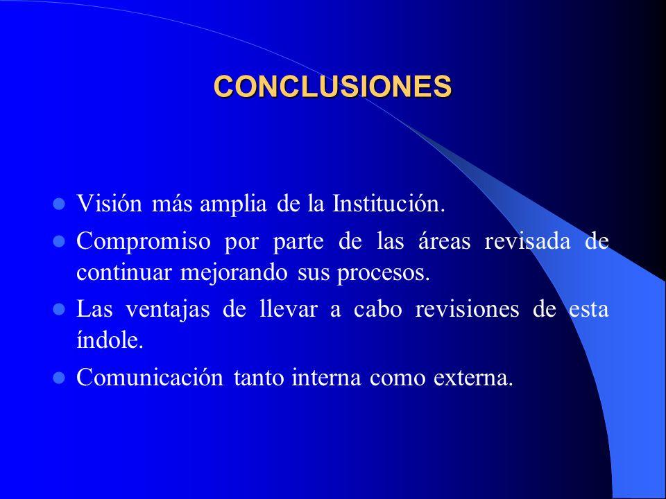 CONCLUSIONES Visión más amplia de la Institución.