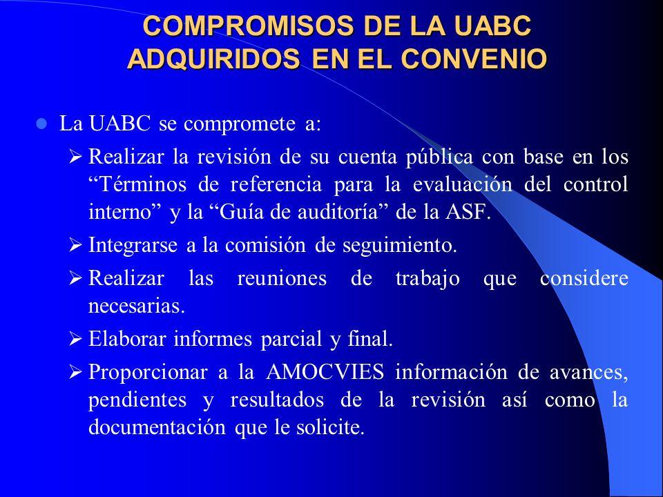 COMPROMISOS DE LA UABC ADQUIRIDOS EN EL CONVENIO La UABC se compromete a: Realizar la revisión de su cuenta pública con base en los Términos de referencia para la evaluación del control interno y la Guía de auditoría de la ASF.