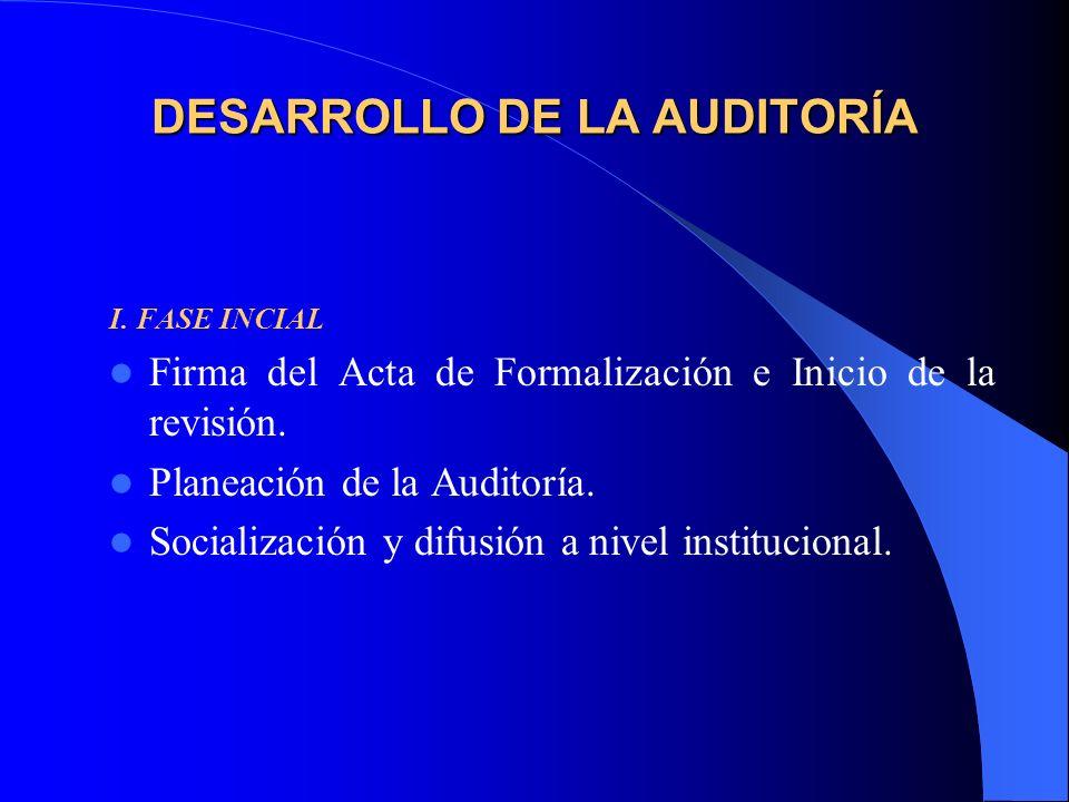 DESARROLLO DE LA AUDITORÍA I. FASE INCIAL Firma del Acta de Formalización e Inicio de la revisión.