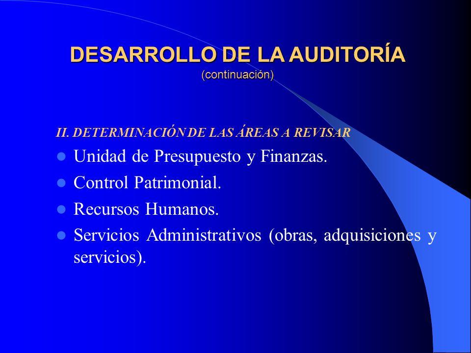 II. DETERMINACIÓN DE LAS ÁREAS A REVISAR Unidad de Presupuesto y Finanzas.