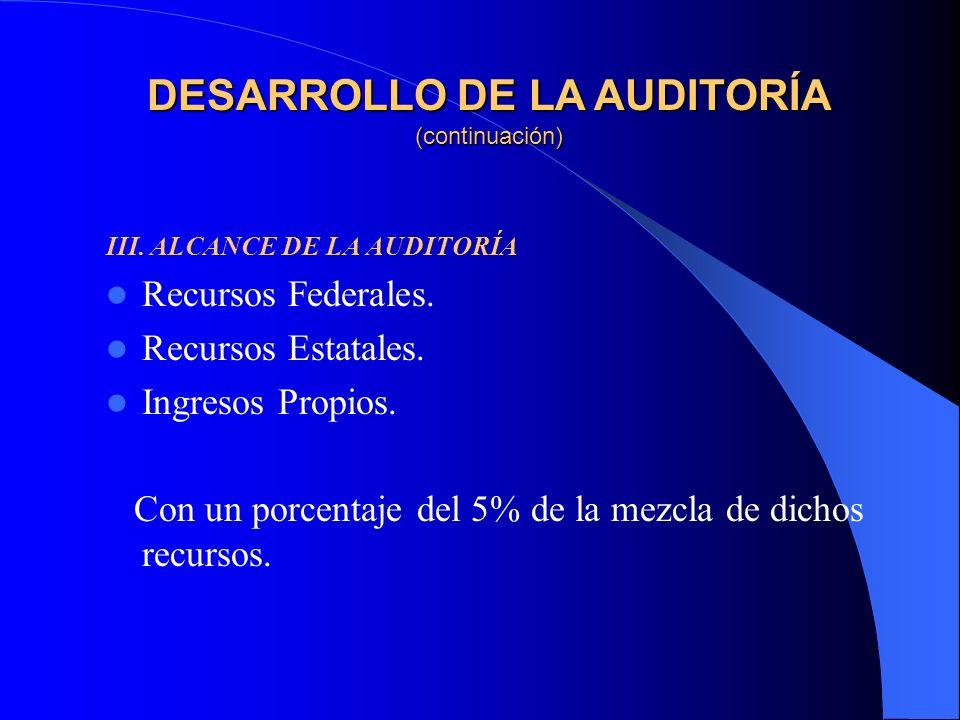 III. ALCANCE DE LA AUDITORÍA Recursos Federales. Recursos Estatales.