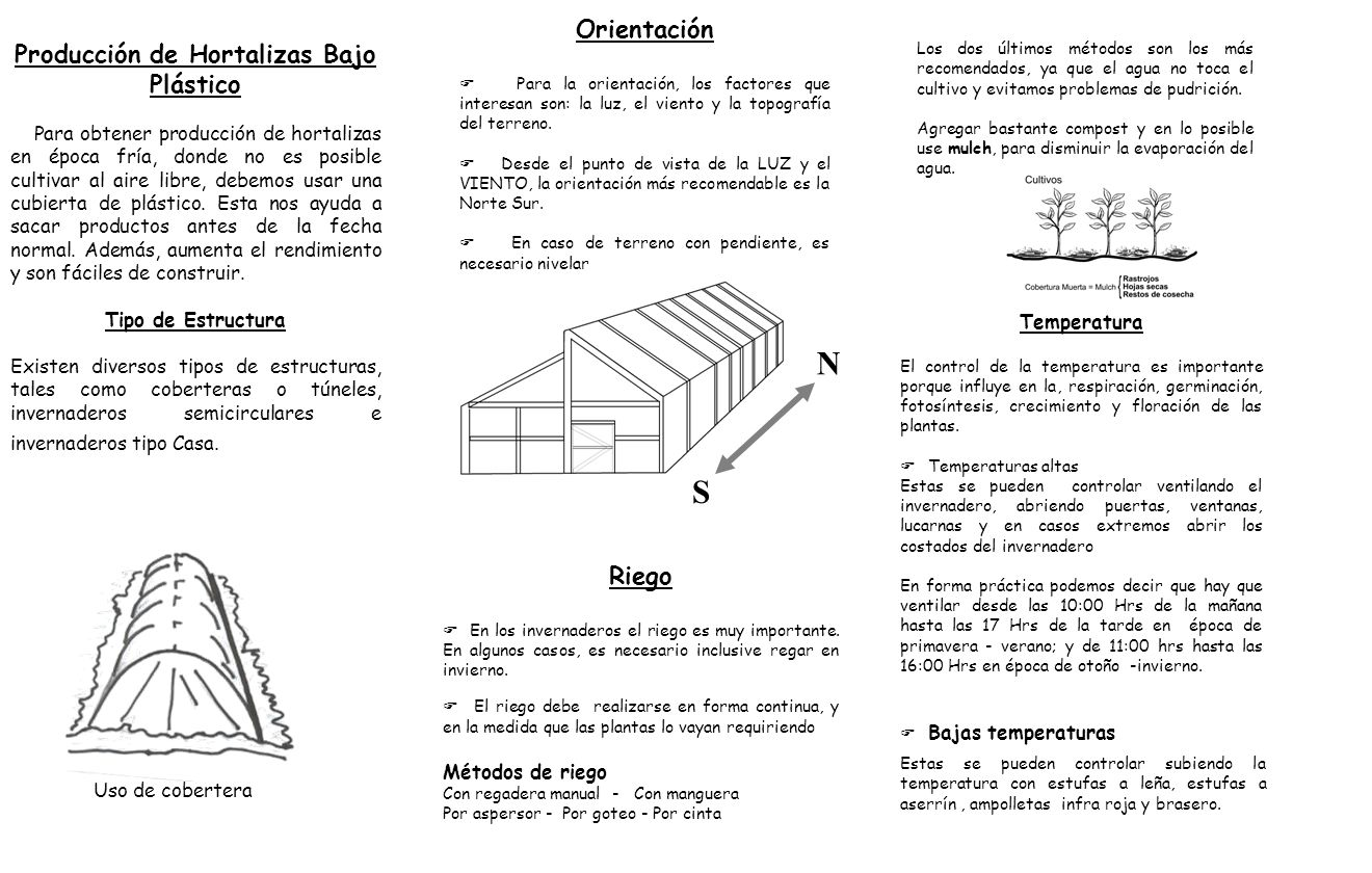 Producción de Hortalizas Bajo Plástico Para obtener producción de hortalizas en época fría, donde no es posible cultivar al aire libre, debemos usar u
