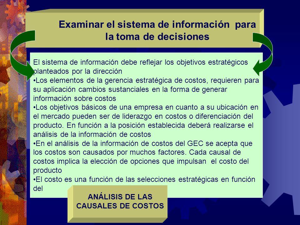El sistema de información debe reflejar los objetivos estratégicos planteados por la dirección Los elementos de la gerencia estratégica de costos, req