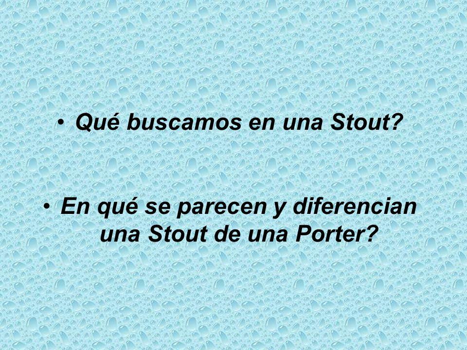 Qué buscamos en una Stout? En qué se parecen y diferencian una Stout de una Porter?