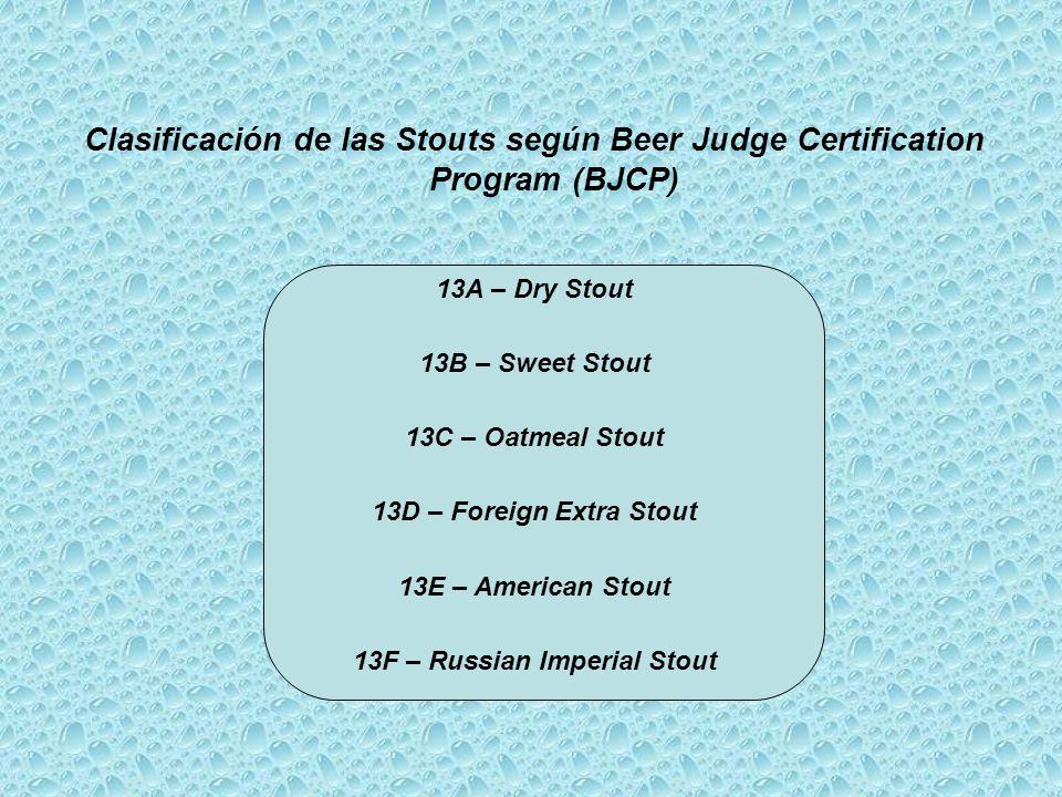 Clasificación de las Stouts según Beer Judge Certification Program (BJCP) 13A – Dry Stout 13B – Sweet Stout 13C – Oatmeal Stout 13D – Foreign Extra Stout 13E – American Stout 13F – Russian Imperial Stout